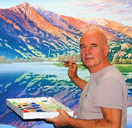Artist Kuno Vollet in his studio