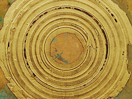 Creatio continua #4, mixed media, gold leaf, copper, iron oxidized on wooden panel (60 x 60 cm), 2015.