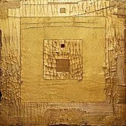 Gold Works. Golden Square #7, mixed media, gold leaf on wooden panel (65 x 65 cm).
